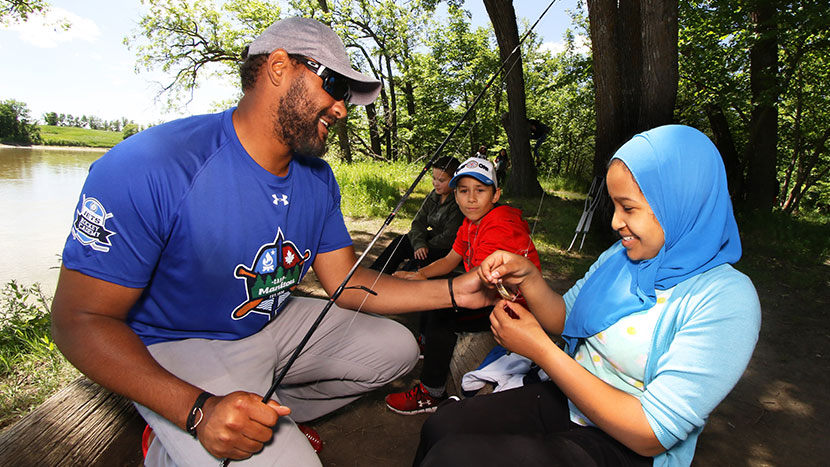 Dustin Byfuglien with the True North Youth Foundation